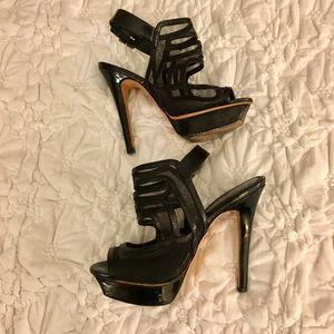 Bebe Sexy Black Peep Toe Stilettos